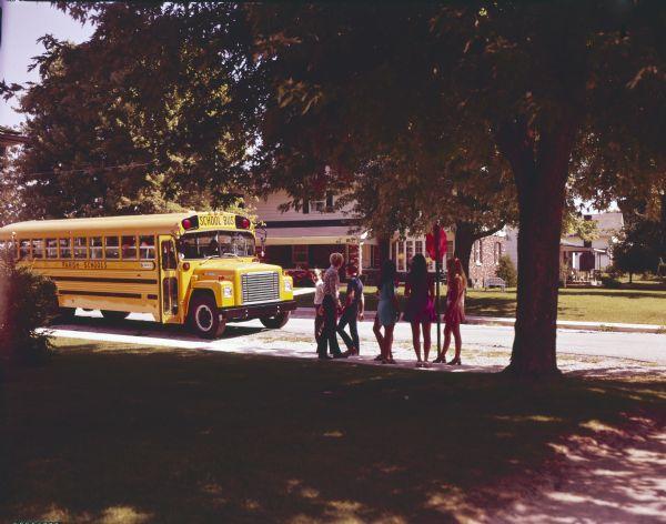 1975 Children with International Bus