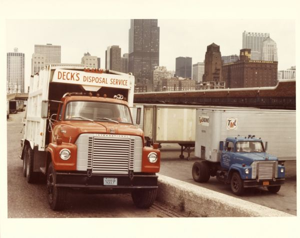 1975 International Fleetstar truck outfitted with a garbage hauler