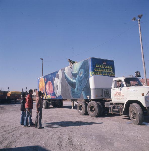 1975 International Truck Trailer with Mural of Endangered Animals