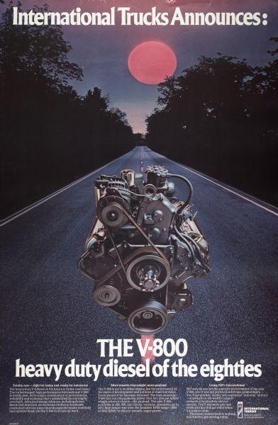 1975 International V-800 Engine Advertising Poster
