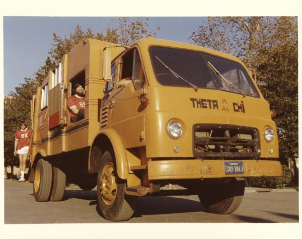 1975 Theta Chi fraternity with an International garbage truck