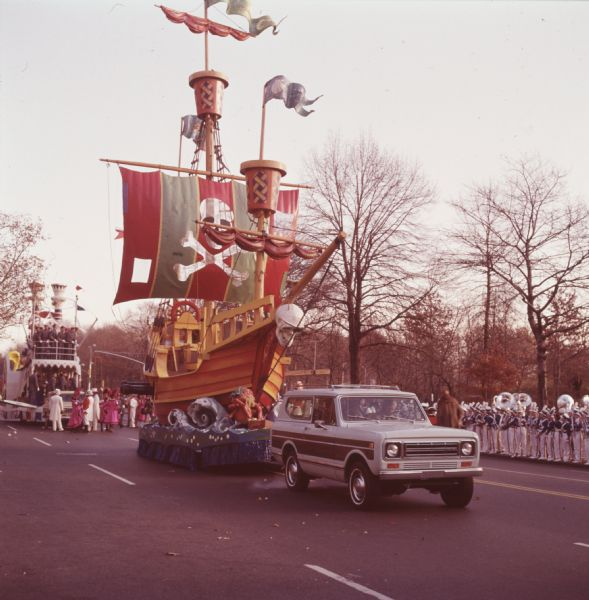 1976 IHC Scout Truck Towing Pirate Ship Float in Parade