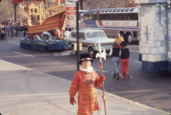 1976 International Scout + Man in Costume in Thanksgiving Parade