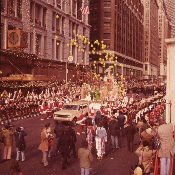 1976 International Scout Truck Towing Santa Claus Float in Parade