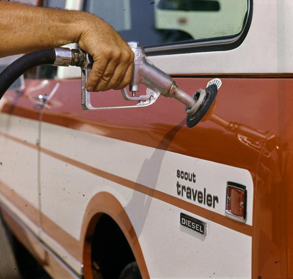 1977 Adding Fuel to Scout Diesel Traveler