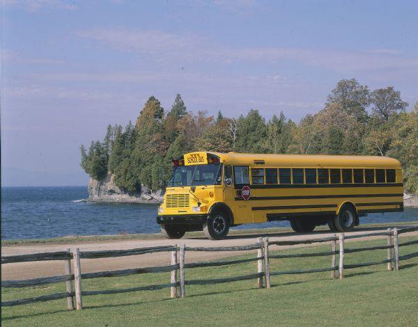 1989 IH School Bus on Coastal Road