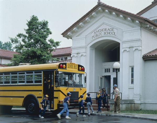 1990 Cub Scouts Exiting an IH School Bus