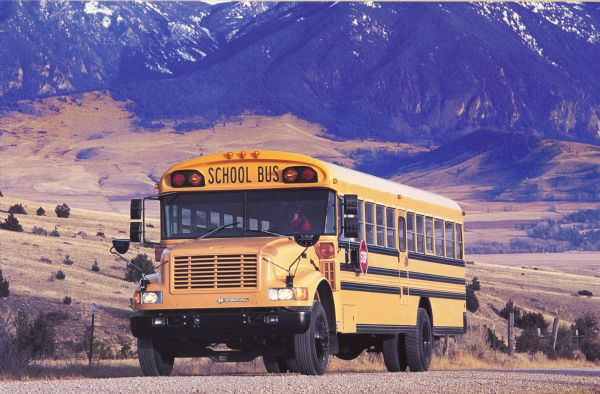 1990 IH School Bus on Mountain Road