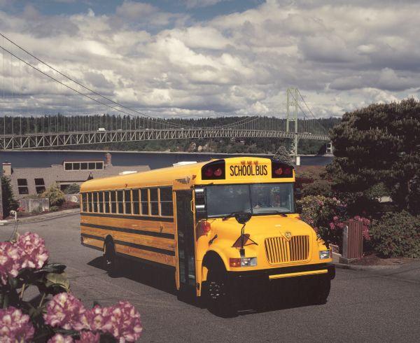 1990 IH School Bus Parked on Residential Street