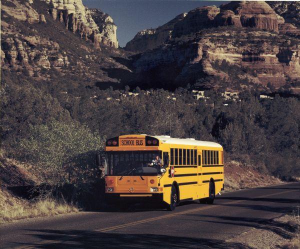 1991 IH School Bus on Mountain Road
