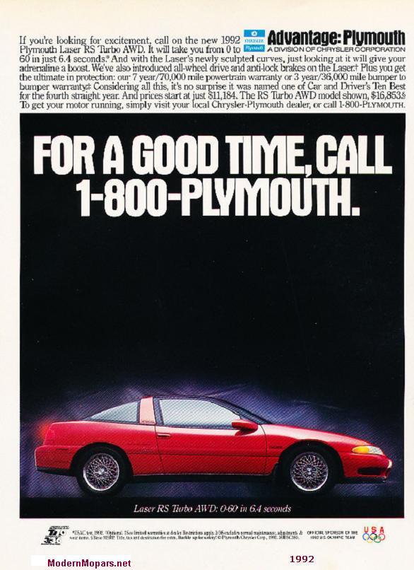 1992-94 Plymouth Laser specs