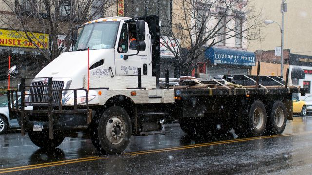 2012 International TranStar 8600 with a special single-seat body for carrying long pipes