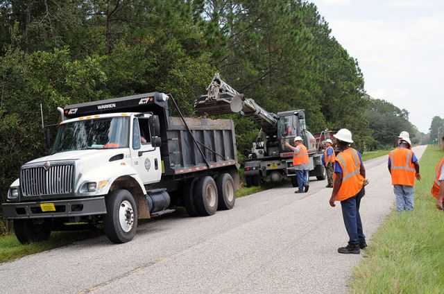 FEMA - 38851 - County Road crew cleans storm drainage ditches