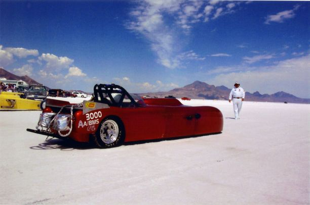 highly modified 1959 Berkeley, on the Bonneville salt flats denton 2