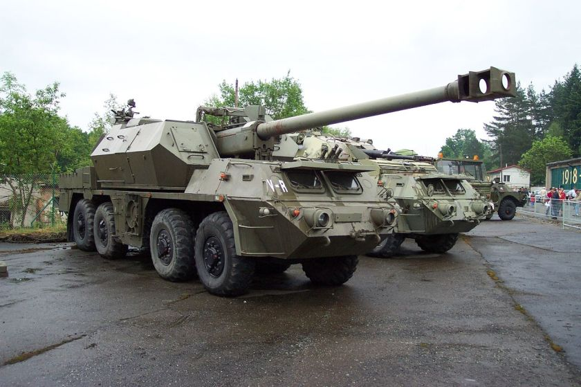 Self-propelled howitzer 152mm SpGH DANA on Tatra T815 chassis in the army museum in Lešany