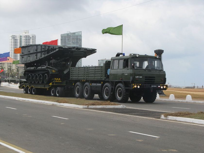 Sri Lanka Army MT-55A Armored Vehicle-launched Bridge pulled by Tatra T815 Truck