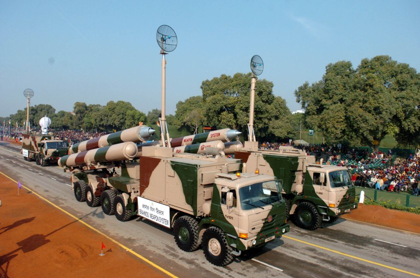 The BRAHMOS Weapon System passing through the Rajpath during the full dress rehearsal for Republic Day Parade - 2005, in New Delhi on January 23, 2005.