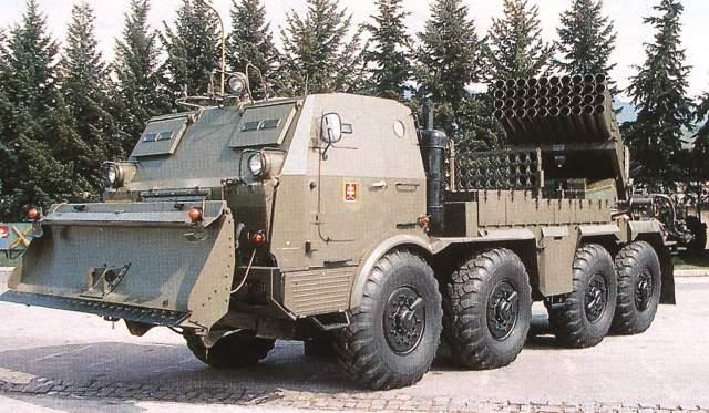 Tatra T813 reprodukcia z ročenky Armády SR, 122.4 mm raketomet vz.70