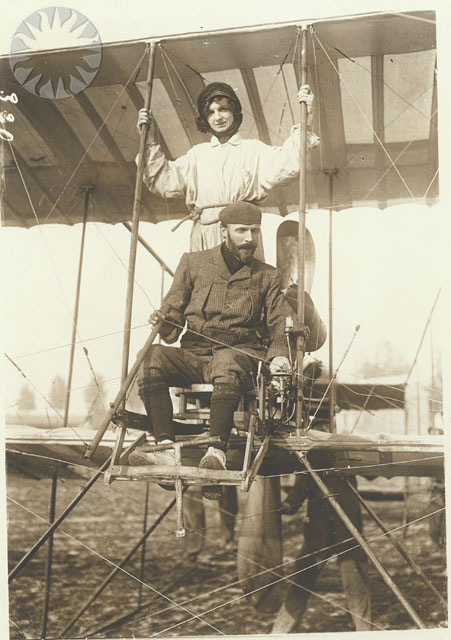 1913 Close-up view of Henri Farman seated at the controls of one of his biplanes circa.1913