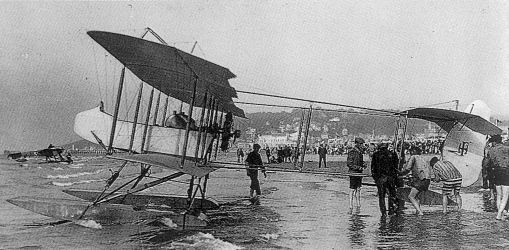 1913 Farman HF.14 at Deauville in 1913 configured as a Floatplane