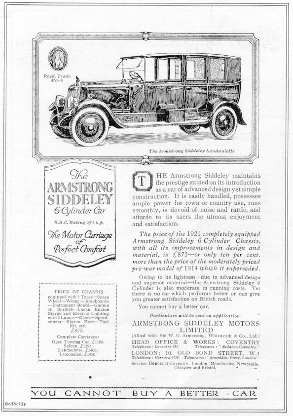 Armstrong Siddeley 30HP Landaulette advert 1921