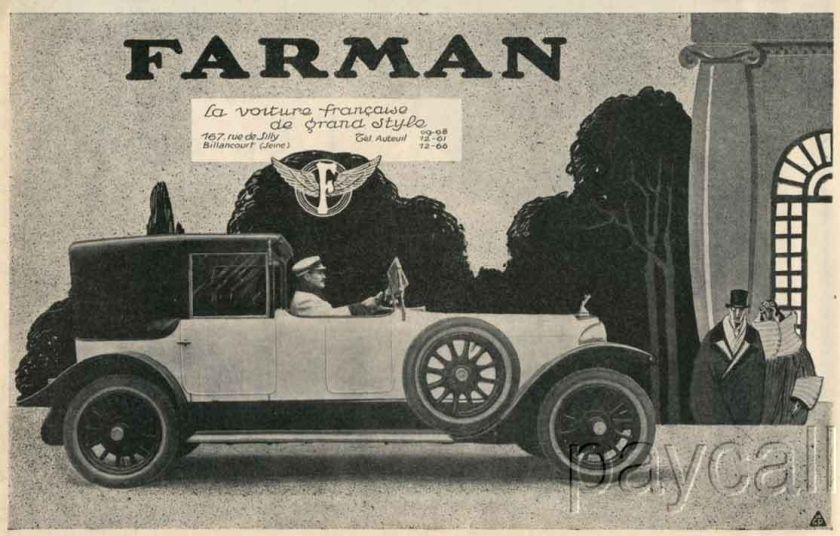 1924 Ad Print Farman Auto Cabriolet 40 HP 6 cylindres