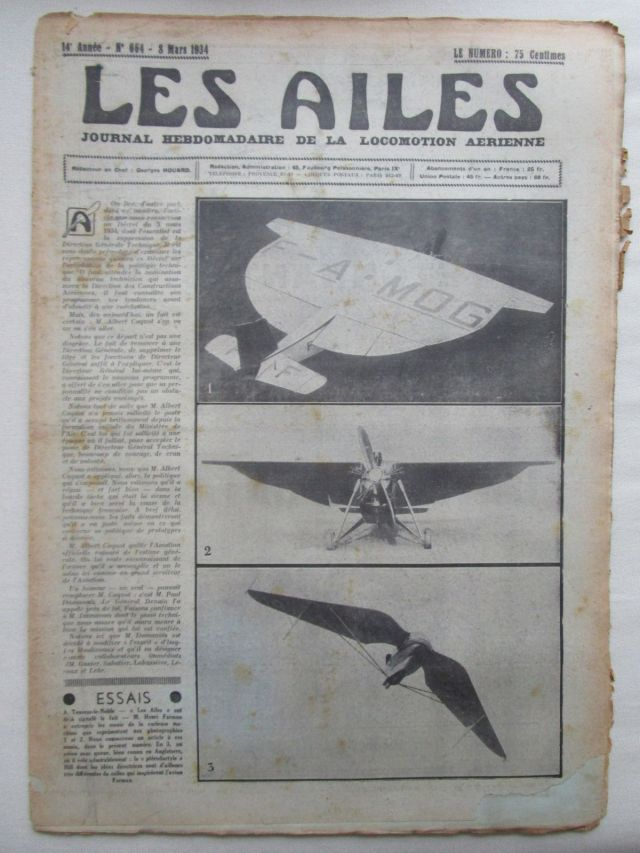 1934 AILES 1934 664 BLOCH 200 MUREAUX 170 LATE-300 POOL AILE VOLANTE FARMAN F-1020