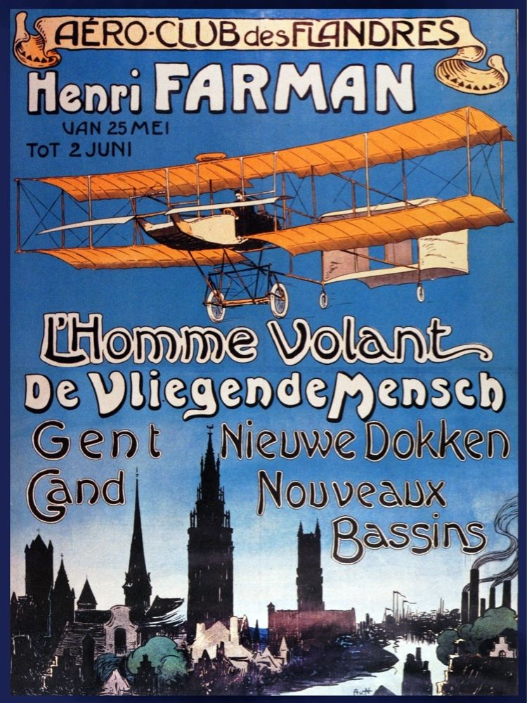6368.Aero club de flanders.Heri farman.plane over town.POSTER.Home Office art
