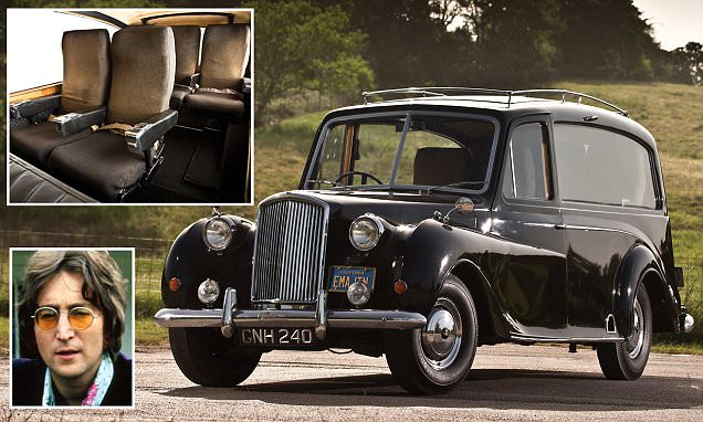 Ex-John Lennon 1956 Austin Princess, A 60-year-old Austin Princess hearse with aircraft seats fitted by its previous owner JOHN LENNON is expected to fetch £250,000 at auction. See SWNS SWLENNON;  The Beatles legend used the British car as his personal limousine after buying it secondhand in August 1971. Records show the car was registered in the name of John Ono Lennon to 3 Savile Row, which was the Mayfair address of The Beatles.