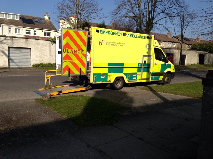 HSE NAS Emergency Ambulance at a scene in Dublin