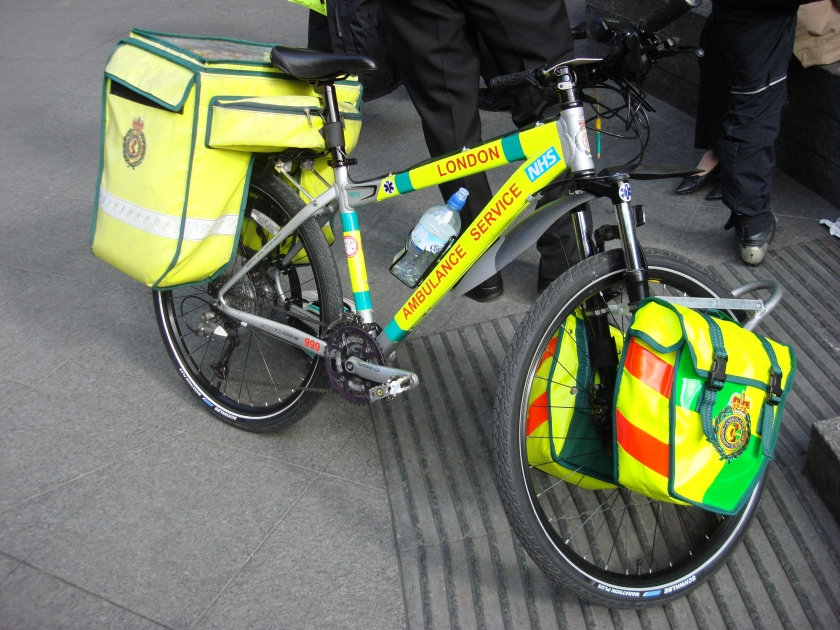 NHS, London Ambulance Service paramedics pedal bicycle