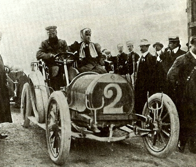 1906 Targa Florio driving a Hotchkiss 35 hp Hubert and Mme Le Blon