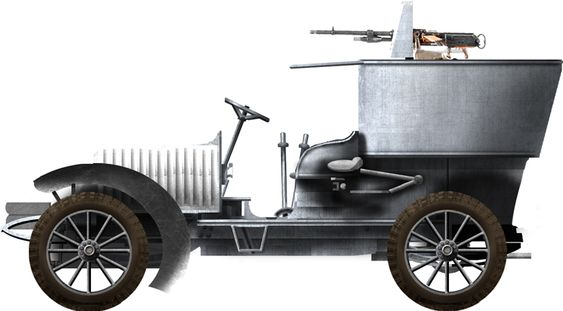 1909 Hotchkiss with weapons and pantzer