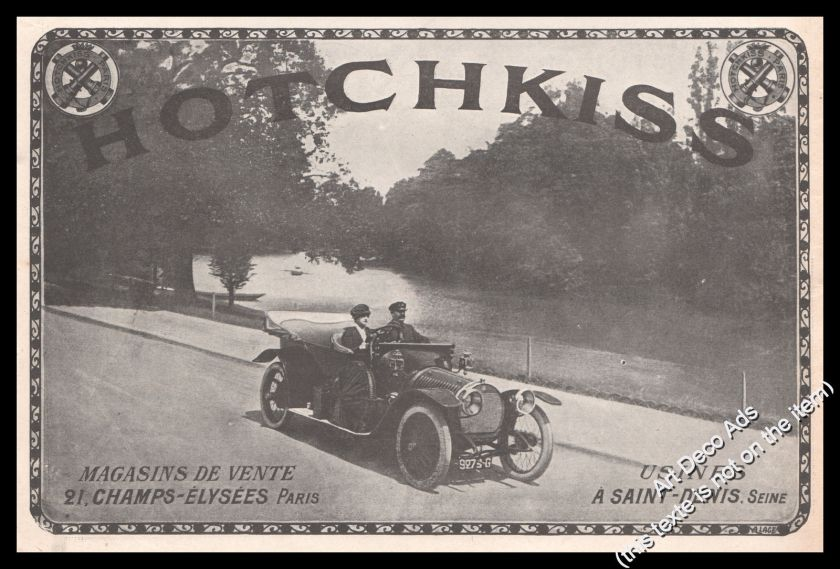 1913 Hotchkiss Classic Car Original French Advert Print Ad - U