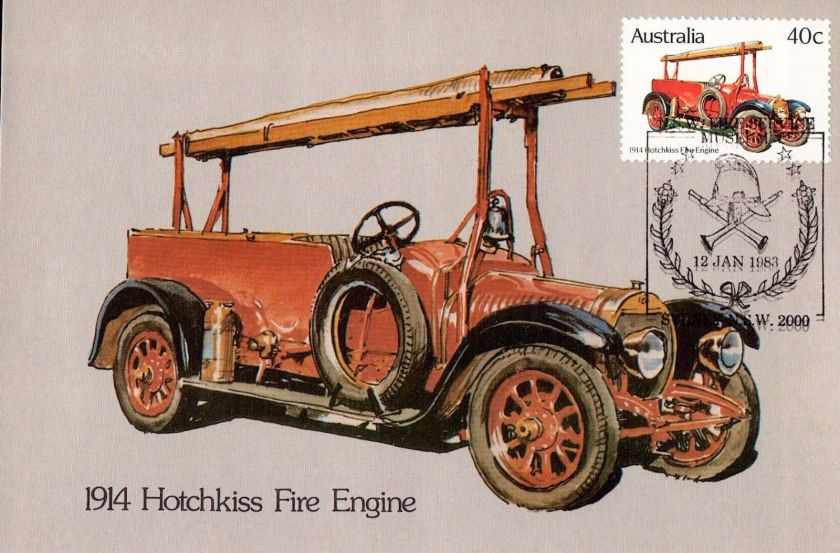 1914 D9136mkk Australia maxicard ASPC148 1983 Fire Engines 1914 Hotchkiss postcard