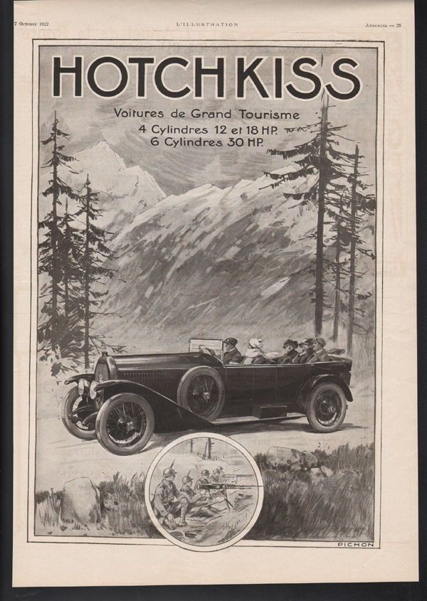 1922 HOTCHKISS CAR AUTO MEMORABILIA TOURING LUXURY MACHINE GUN TRENCH 21381