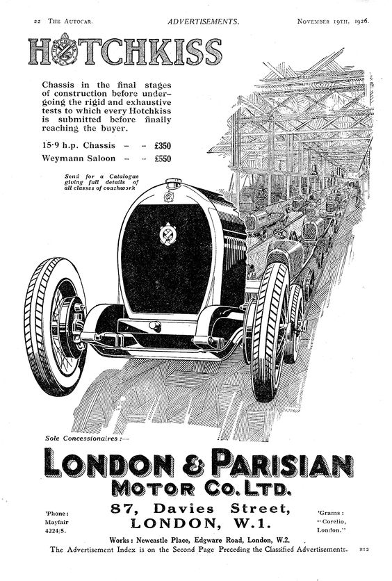 1926 Hotchkiss Autocar Motor Car Advert 1926