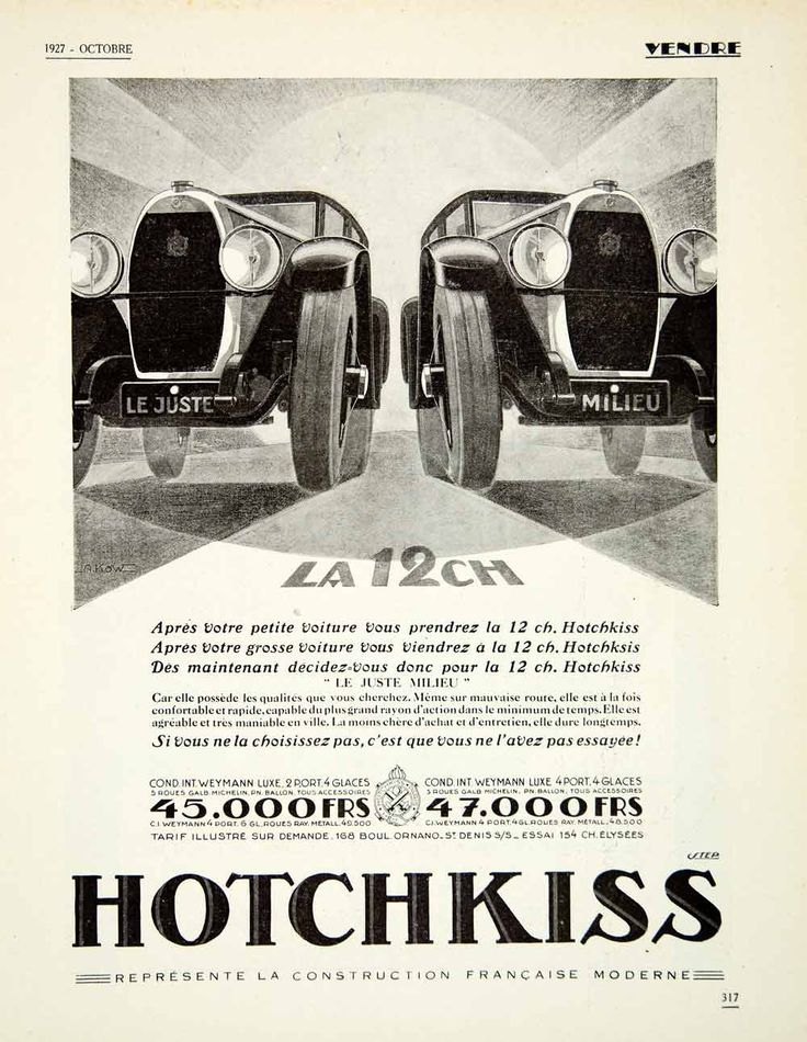 1927 Ad Hotchkiss Automobiles Car Transportation 168 Blvd Ornano St Denis VENA3