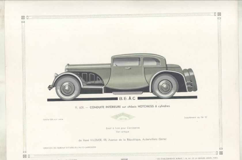 1932 Hotchkiss Coupe ORIGINAL Print French wz3202