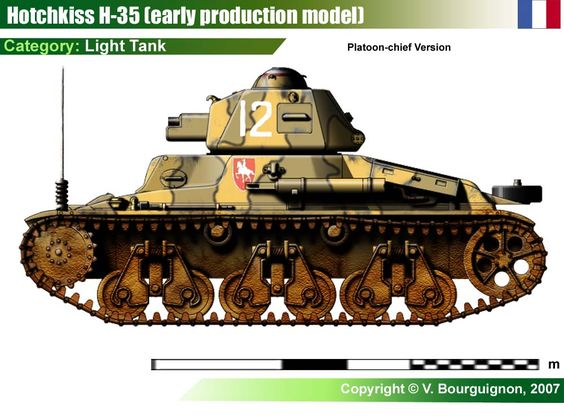 1936 Hotchkiss H-35 light tank ( armor - 34 mm gun - 37 mm SA 18 speed - 28 km-h produced - 1200)