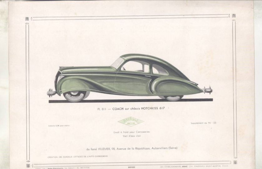 1937 Hotchkiss Streamline Coach ORIGINAL Print French wz3211