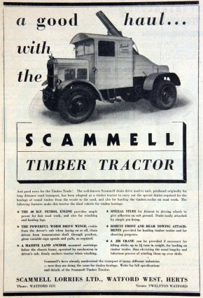 1938 Scammel timber tractor ad