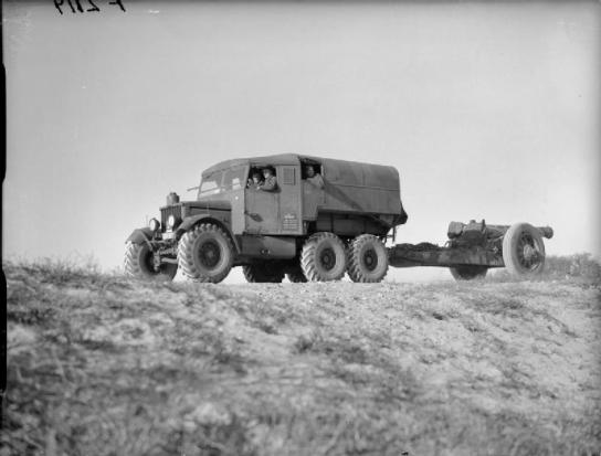 1940 A British Army Scammell Pioneer towing an 8-inch howitzer of 1st Heavy Regiment, near Calais (12 January 1940)