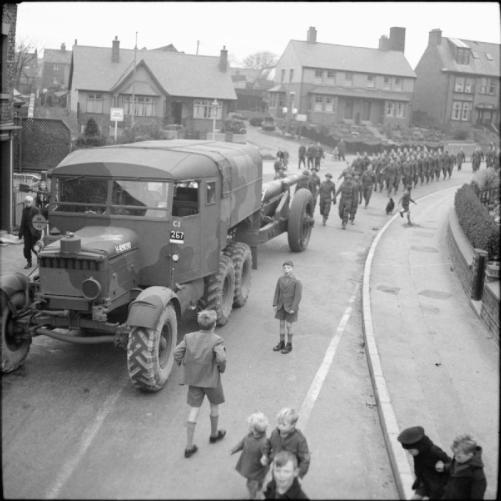 1941 Scammell Pioneer artillery tractor towing a 6-inch howitzer forms part of a recruiting parade in a Yorkshire town, 11 November 1941