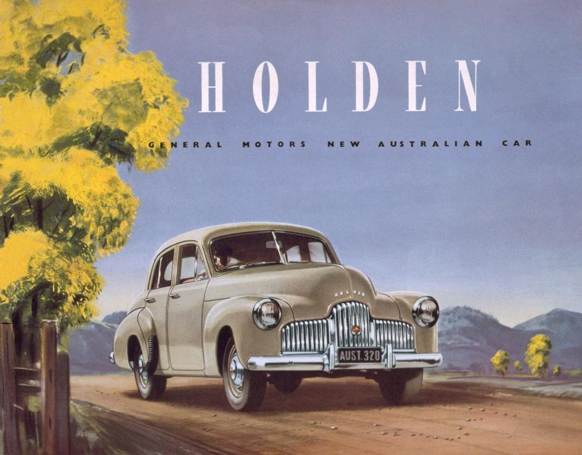 1948 Front cover of the sales brochure for the Holden 48-215