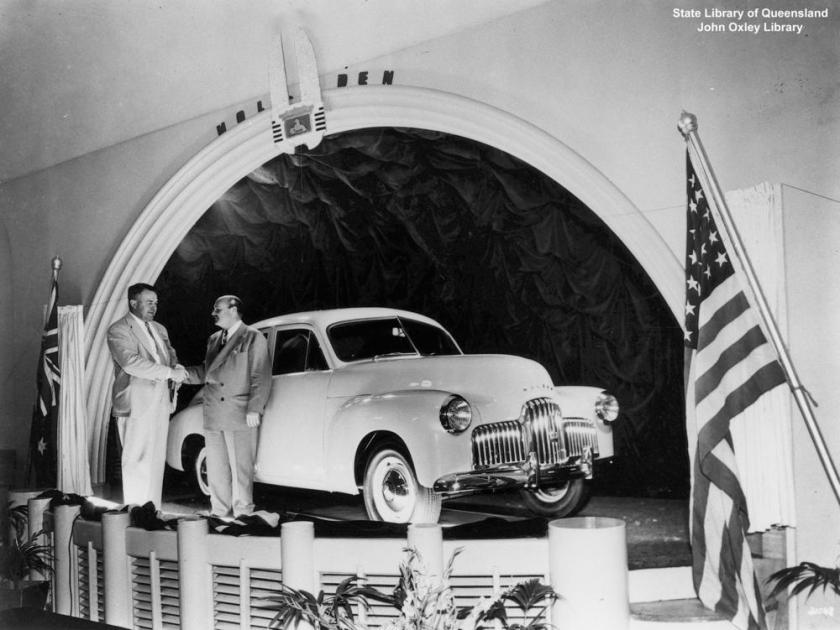 1948 Queensland launch of the Holden 48-215 at Eagers Motors, Brisbane