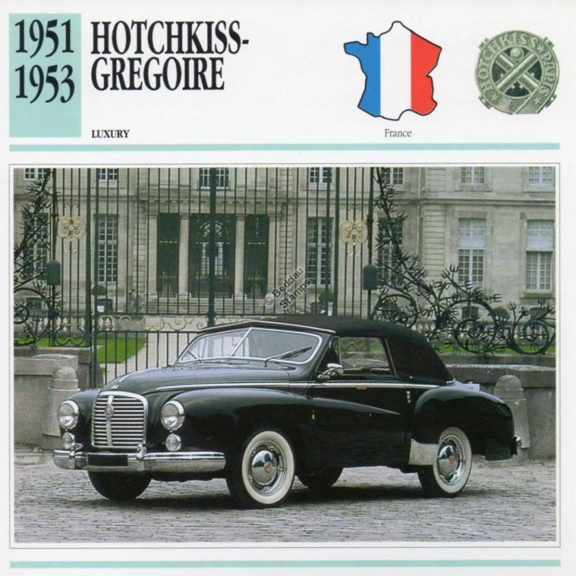 1951-1953 HOTCHKISS GREGOIRE Classic Car Photograph