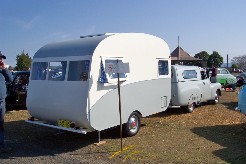 1956 Holden FJ utility and 1960 caravan