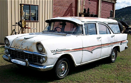1961 Holden EK Station Sedan Snowcrest White Red Flashline