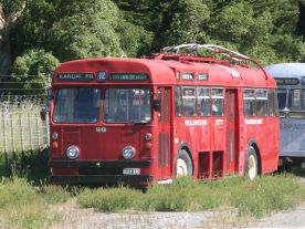 1964 Retired Wellington City Transport big red trolley bus, British United Traction type, manufactured by subcontractor Scammell Lorries Ltd, bodywork by Metro-Cammell Weymann